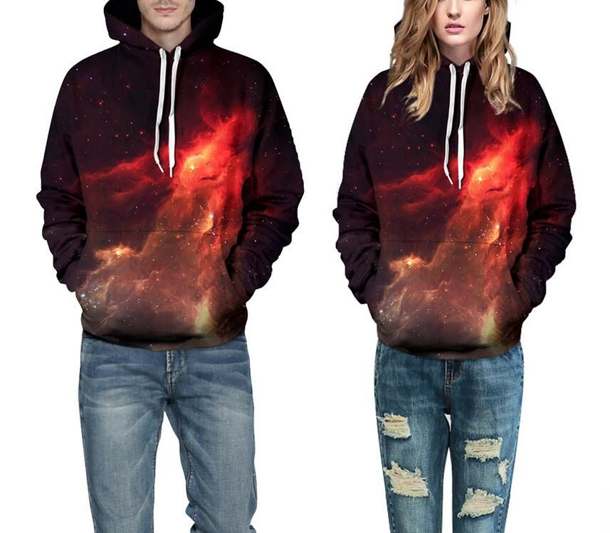 S-XXXL Women Hoodie 2017 New Arrive 3D flame printing loose Baseball uniform Men Casual Sweatshirt Pullovers plus size