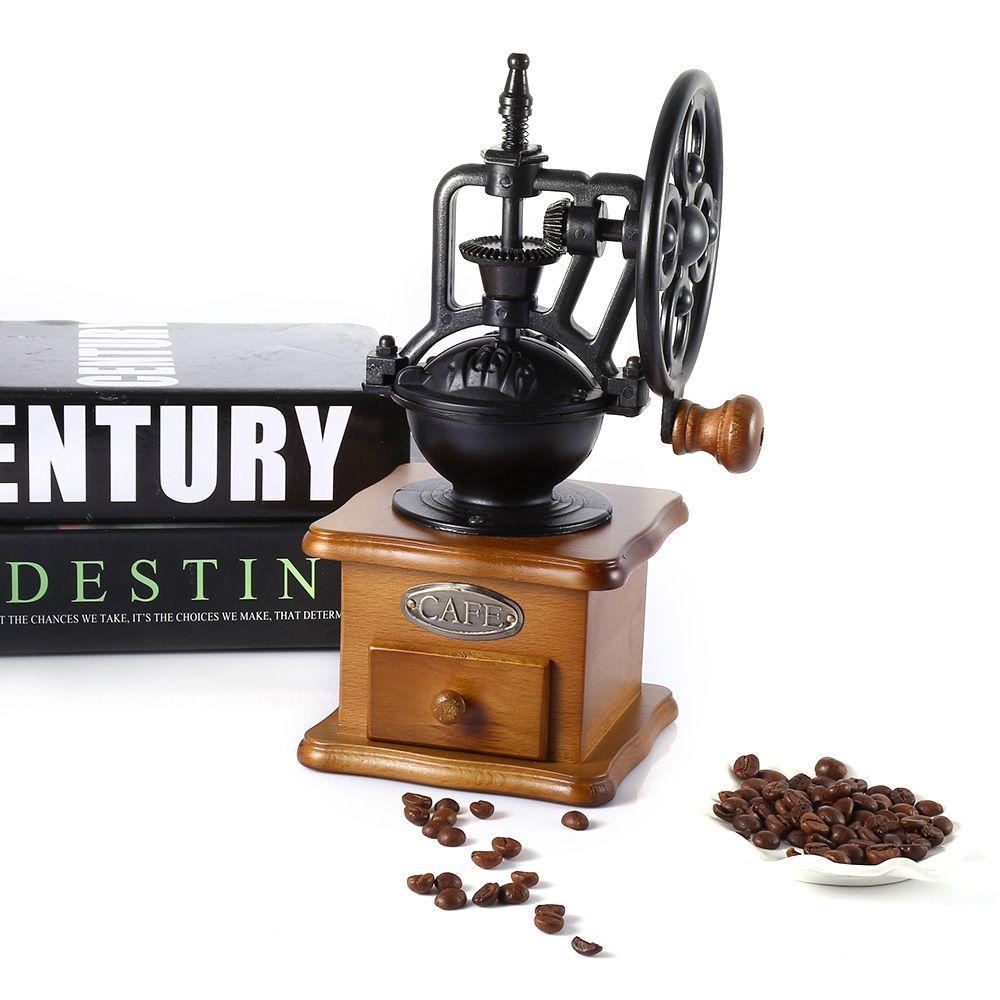 Retro Ferris Wheel Manual Coffee Grinder Machine Wooden Hand Handmade Burr Coffee Mill Grinding Machine Hand Crank Roller