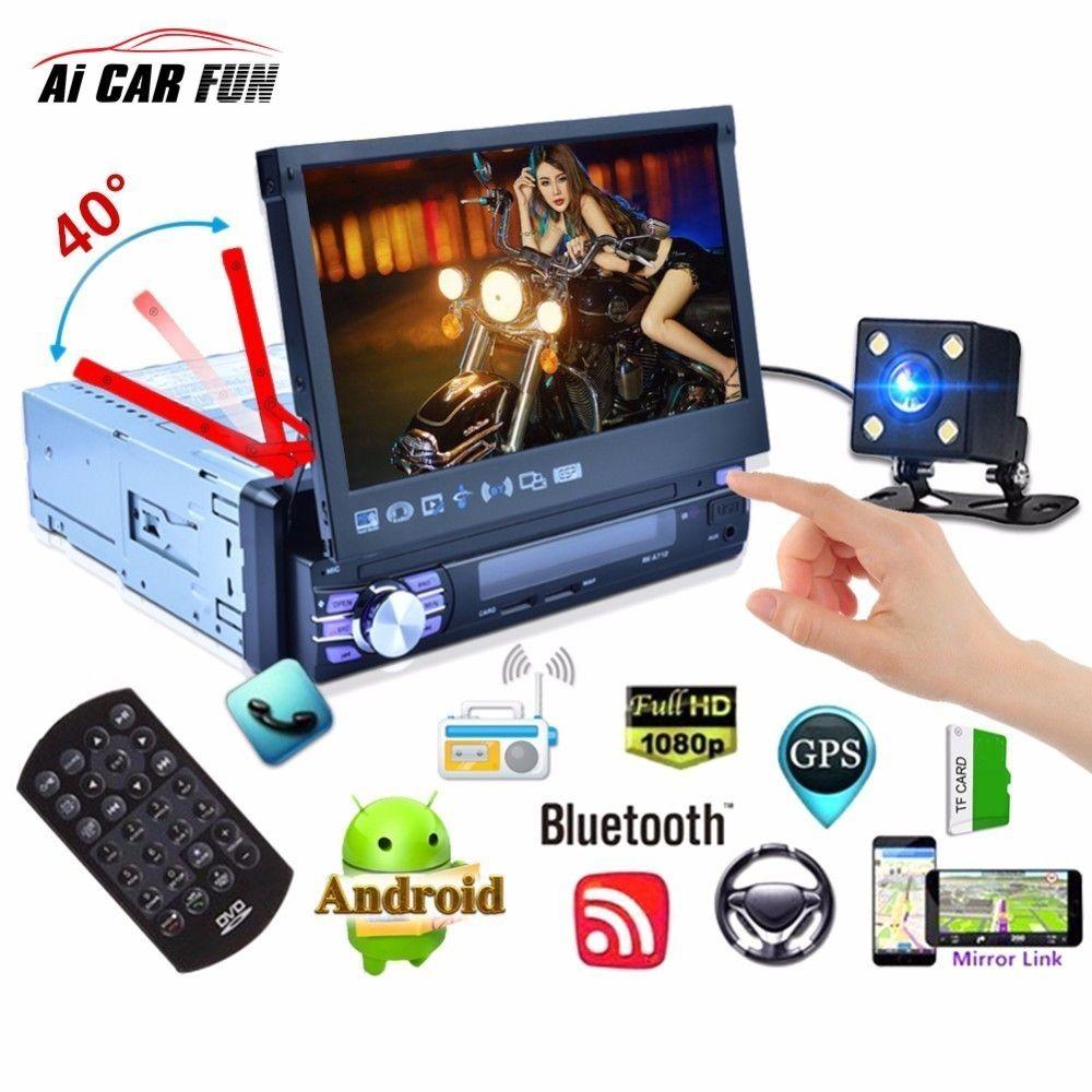 7 zoll Android 6.0 Quad-core Auto MP5 Player Bluetooth GPS Navigation 3g WiFi AM FM RDS Autoradio Automatische versenkbare Bildschirm