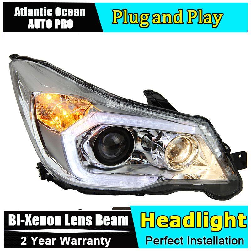 Car Styling LED Head Lamp For Subaru Forester headlights 2013-2016 LED Headlamps angel eyes led drl HID KIT Bi-Xenon Lens