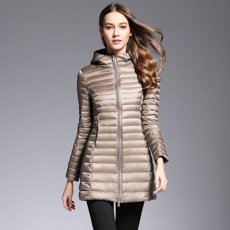 AKITSUMA Long Down Jacket Women Winter Down Coats Ultra Light Down Jacket Quilted Hooded Coat