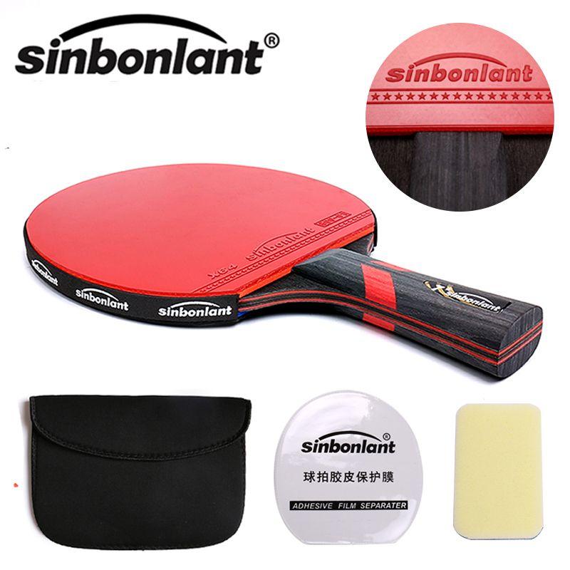 Raquette de table de Tennis manche long manche court lame en carbone caoutchouc avec picots double face dans raquettes de ping-pong avec étui
