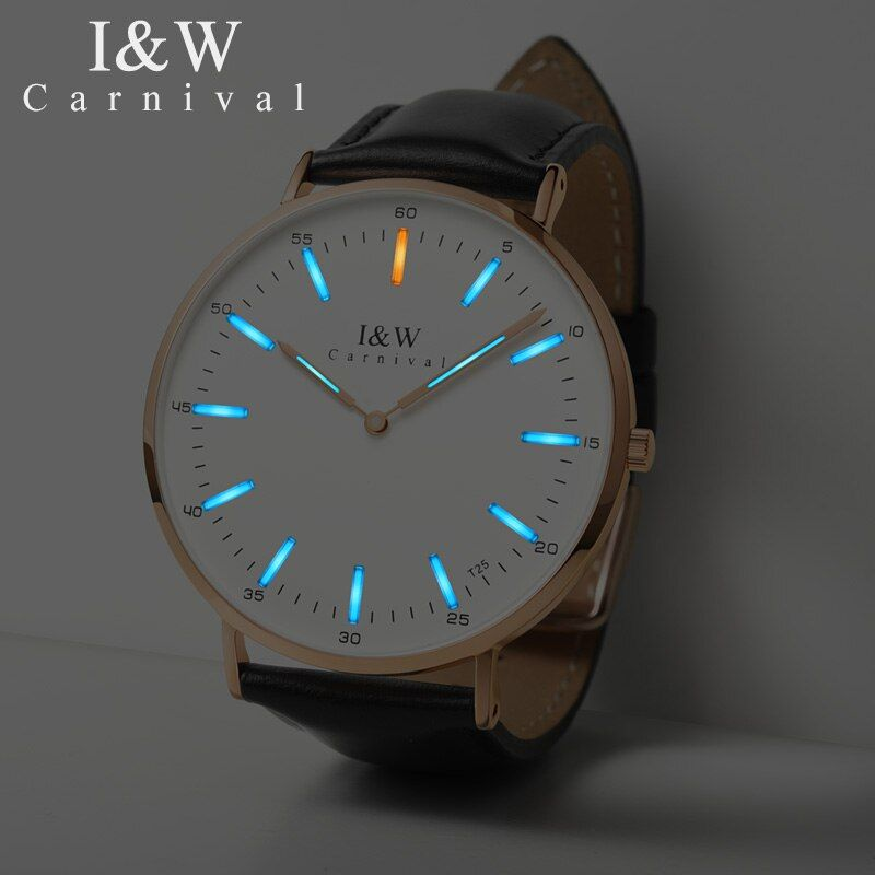 Carnival T25 Tritium Luminous Quartz Watch Men Uitra-Thin Switzerland Wristwatches Mens Leather Waterproof Clock reloj hombre