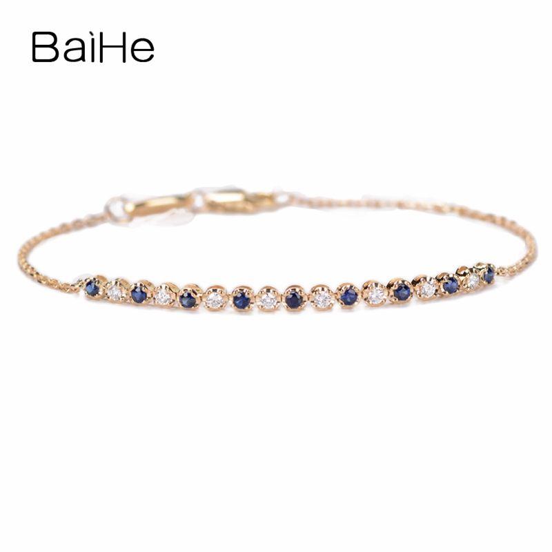 BAIHE Solide 18K Rose Gold (AU750) 0.16ct H/SI Runde Full CUT 100% Echte Natürliche Diamanten Hochzeit Trendy Edlen Schmuck Armband