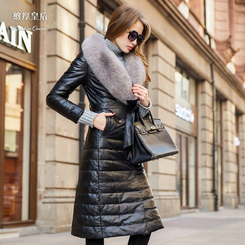 Plus genuine leather down coat 2016 Winter Jacket Women down jackets long design fox fur sheepskin leather clothing outerwear