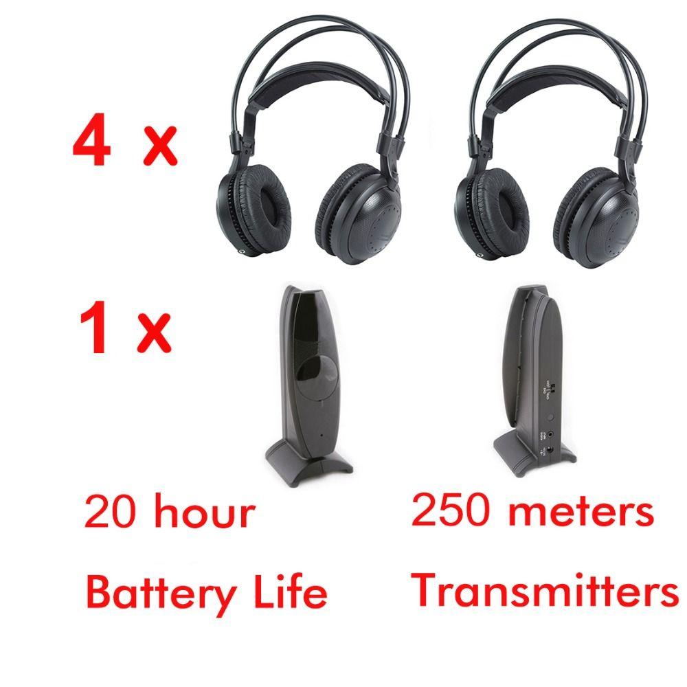 Ultra low bass Silent disco Wireless headphones 4pcs - RF Silent Disco earphones For iPod MP3 DJ music pary club meeting
