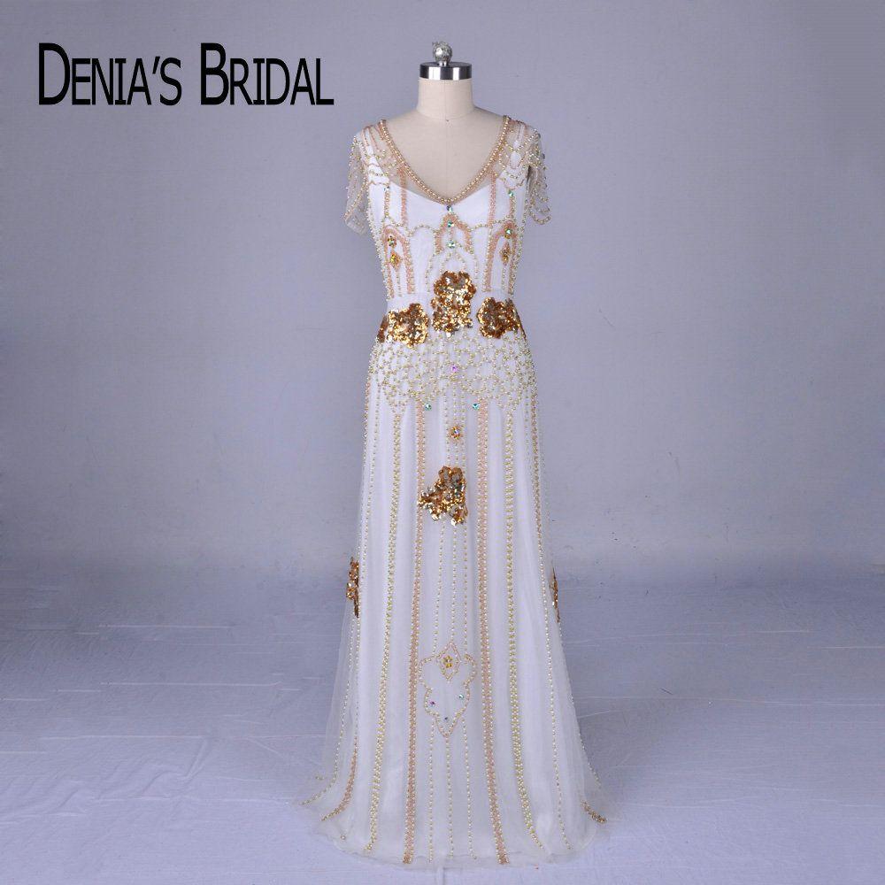 2018 de lujo con cuentas Vestidos de noche real Imagen V Masajeadores de cuello vaina piso-longitud vestido de festa vestidos de noche