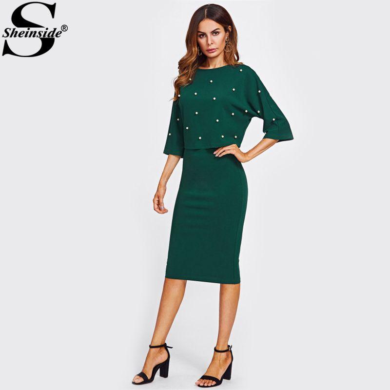 Sheinside Pearl Beading Embellished Skirt Set Womens Two piece Sets 2017 Women Green 3/4 Sleeve Elegant Pencil Two Piece Set