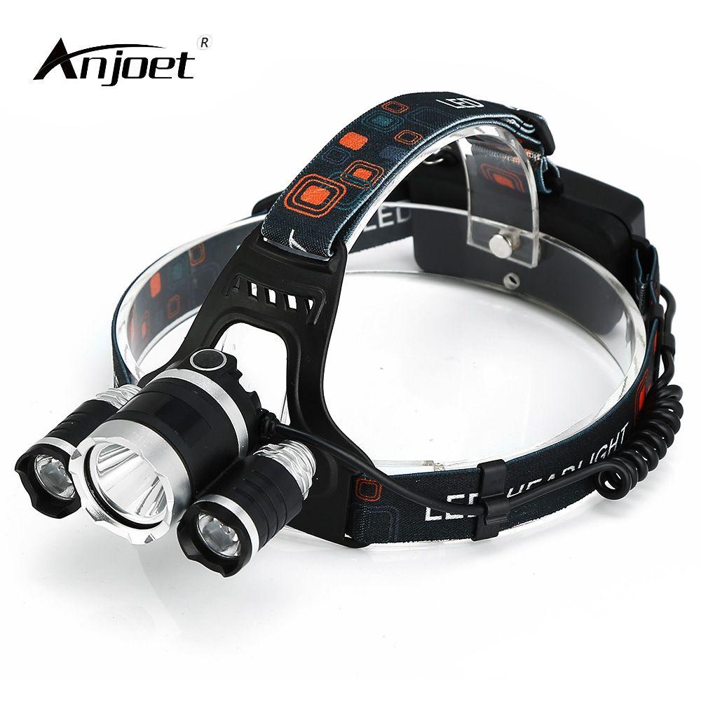 ANJOET 3 * T6 LED De Vélo phares 30 W 10000 Lumen XML-T6 4-mode Head Light lampe de Poche Linterna Frontale Phare & chargeur