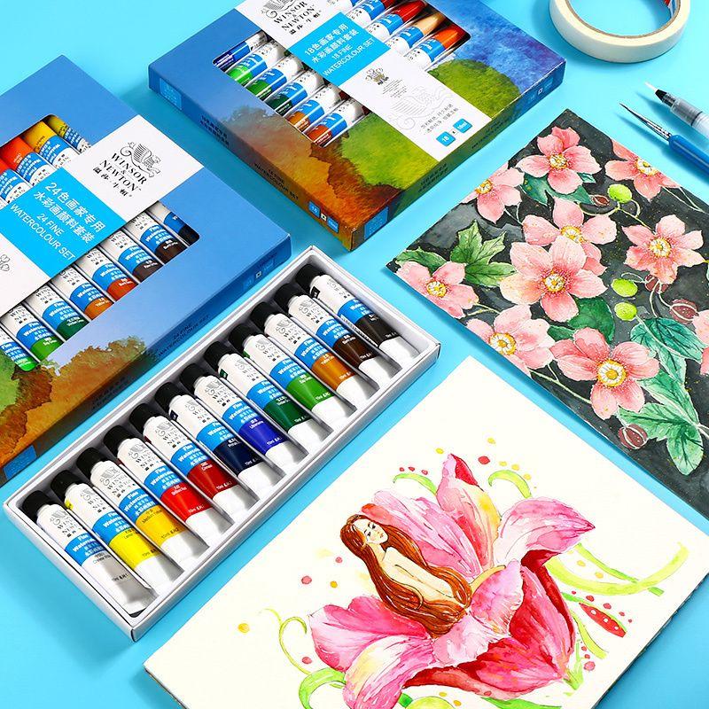 Winsor & Newton 12/18/24 couleurs ensemble de peinture à l'eau Pigment aquarelle Transparent de haute qualité pour artiste étudiant