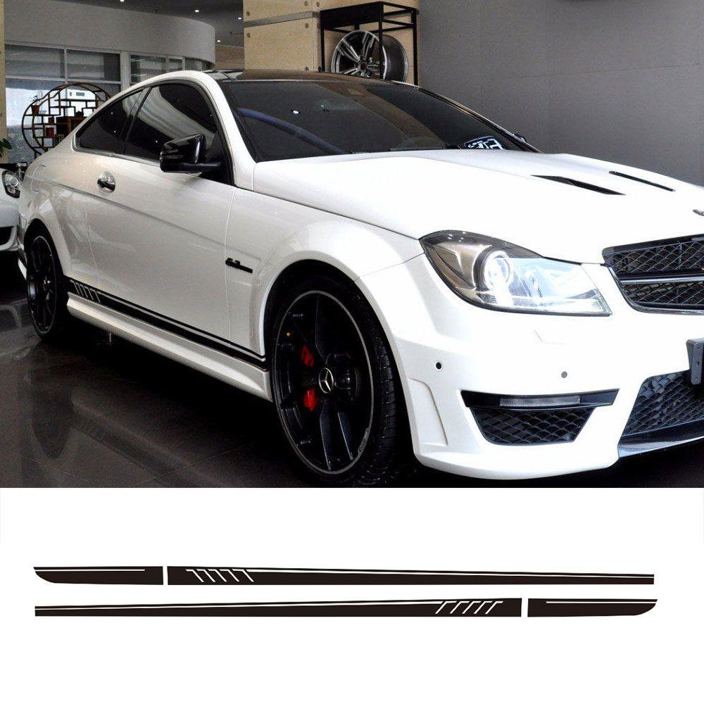 507 Style jupe latérale course rayures vinyle autocollant pour Mercedes Benz W204 S204 Coupe C63 AMG C180 C200 C230 C280 C300 C320