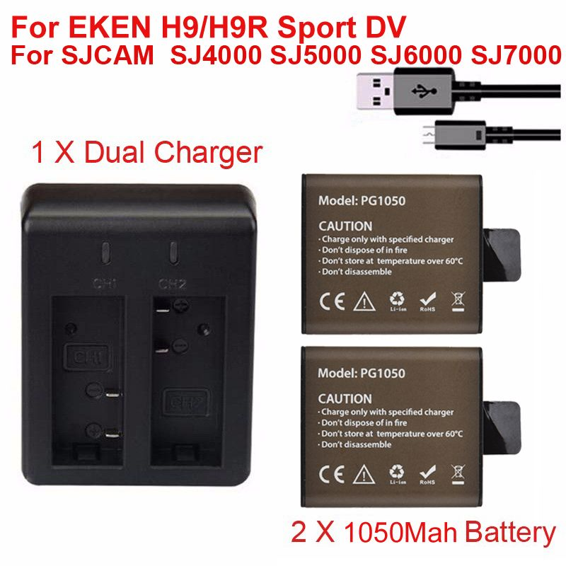 2Pcs 1050mah chargerable Battery +Dual Charger For EKEN H9 H9R H3 H3R H8PRO H8R H8 pro SJCAM SJ4000 SJ5000 SJ6000 SJ7000 GP1050