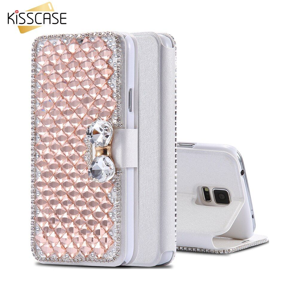 KISSCASE Pouch For Samsung S5 S6 Edge Plus S7 Edge A5 A7 2015 Note 4 5 Bling Rhinestone Flip Leather Case Stand Card Slot Cover