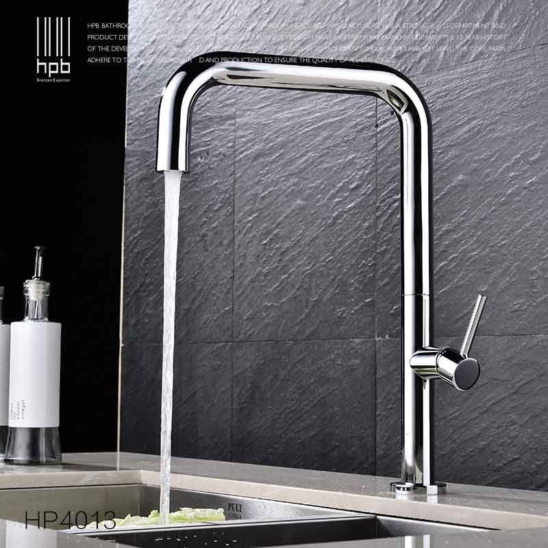 HPB Messing Verchromt Dreh Küche Wasserhahn Waschbecken Mischbatterie Deck montiert Einhand Single Loch Heiße Und Kalte Wasser pb-frei HP4013