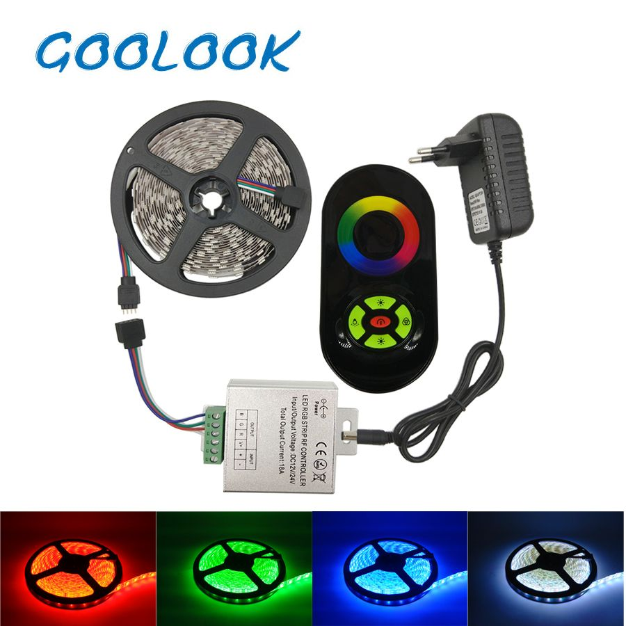 LED Strip Tape SMD 5050 RGB Strip Ribbon 60led/m Waterproof Non Waterproof Flexible Light Ribbon+RF Touch dimmer + Power supply