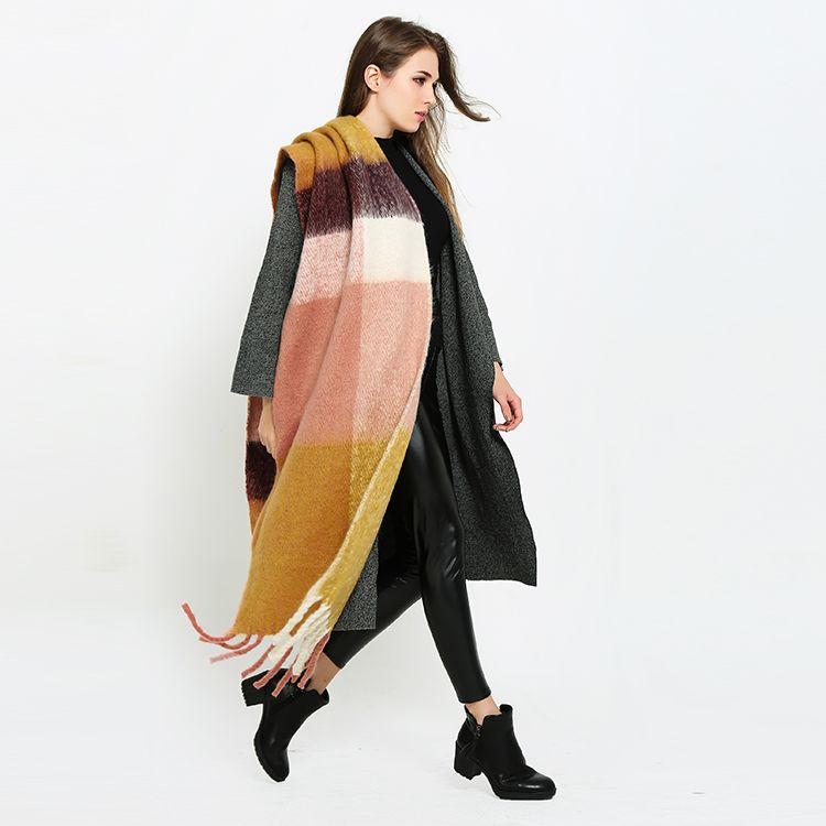2017 Za Marke Winter Kaschmir Schal Euro Stil Plaid Frauen Schals Wrap Warm Vintage Poncho Lange Pashmina Schals Decke Schal