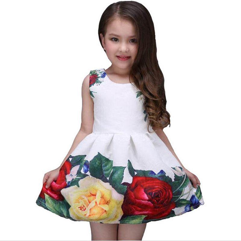 Новинка 2017 летнее платье для девочек Дизайнерская Фирменная новая белая детская одежда свадебное платье для принцессы с розами, кружевное ...
