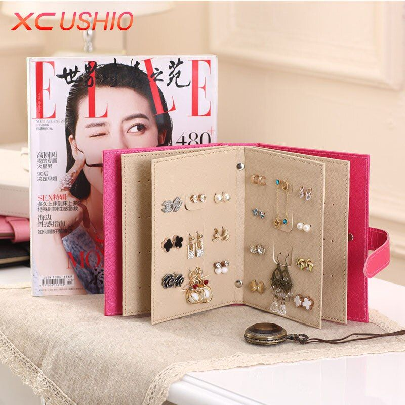 Fashion Women Stud Earrings Collection Book PU Leather Earring Storage Box Creative <font><b>Jewelry</b></font> Display Holder Jewellery Container