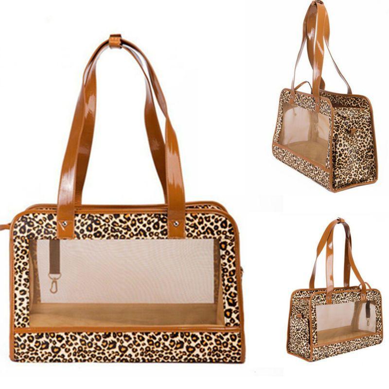 Sacs de transport de chat porte-animal pour petits chiens chiot léopard sac de voyage en maille