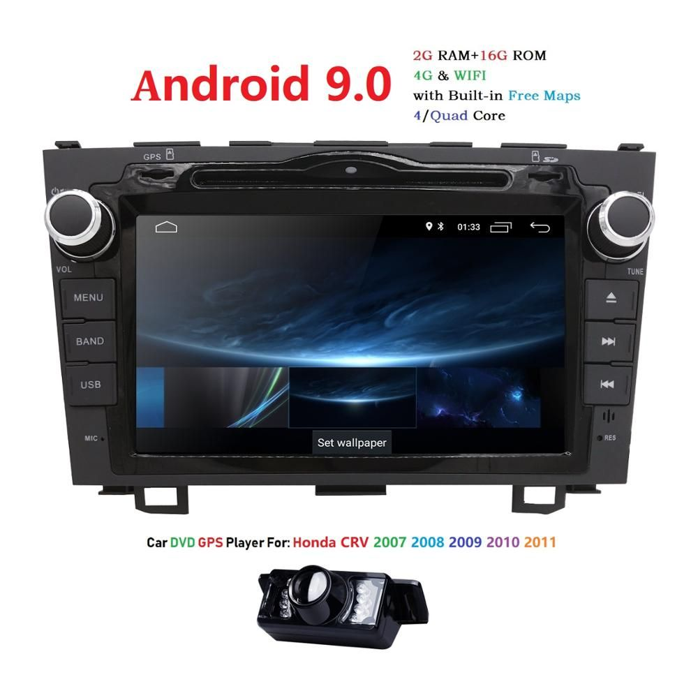 Lecteur DVD de voiture HD Quad Core A7 4*1.2 GHz 1024X600 Android 9.0 pour Honda CRV CR-V 2006-2011 4G WiFi GPS Navigation stéréo vidéo SD