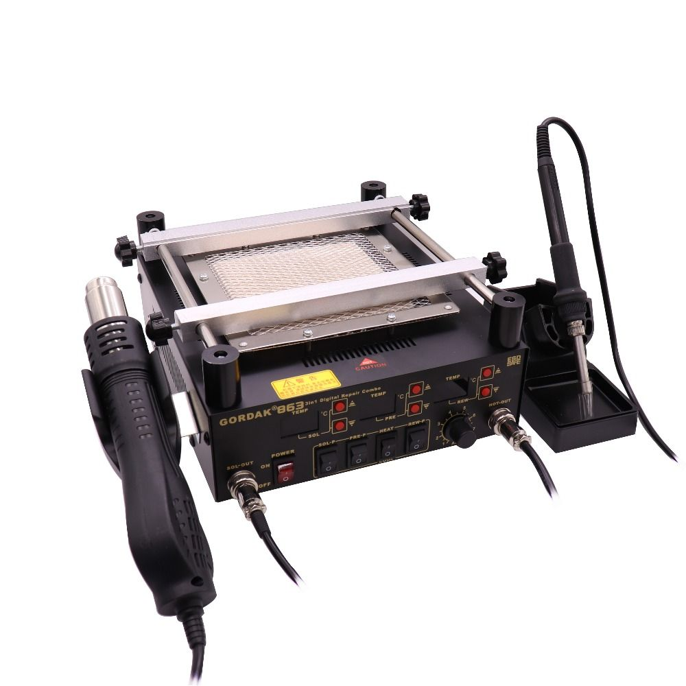 Gordak 863 3 in 1 Digita Hot Air Heat Gun BGA Rework Solder Station Electric Soldering iron IR Infrared Preheating Station