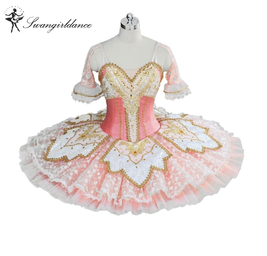 Pink Peach Fairy Princess Professional Tutu Women Ballet Pancake Costume Platter Bellrina Pink Tutu BT9039