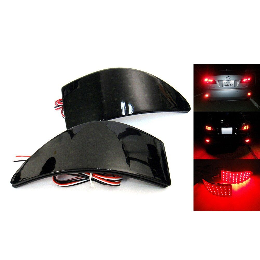 Black Smoked Rear Bumper Reflector LED Stop Brake Light for GSE20 Lexus IS250 IS350 XE20