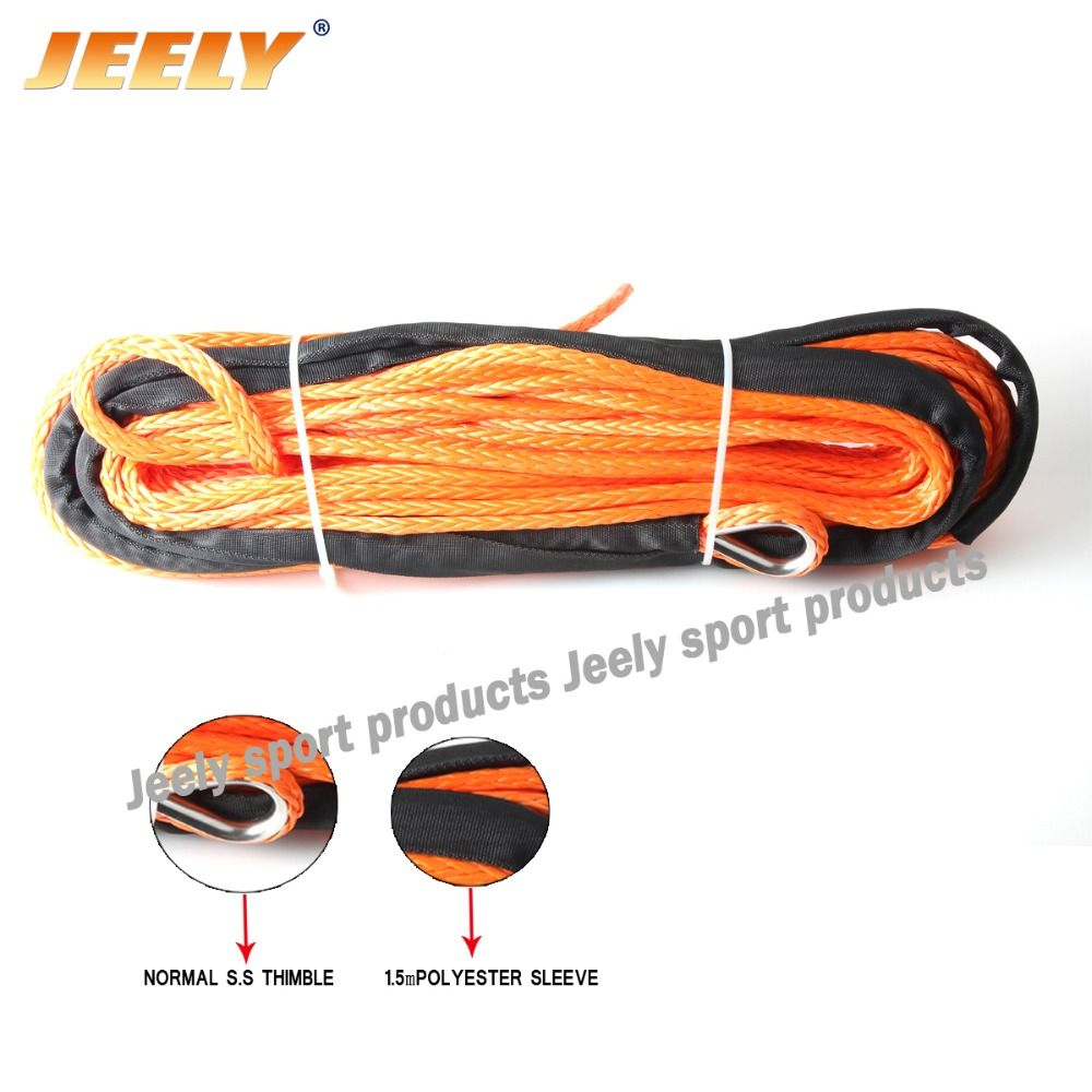 Free shipping 6mm*24m 12 strand off-road uhmwpe synthetic towing winch rope with 1.5m sleeve and thimble