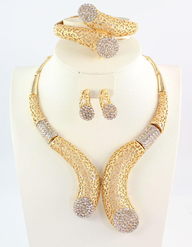 Africano Cuentas la joyería oro color cristal mujeres boda collar brazalete pendiente anillo Joyería fina Sets