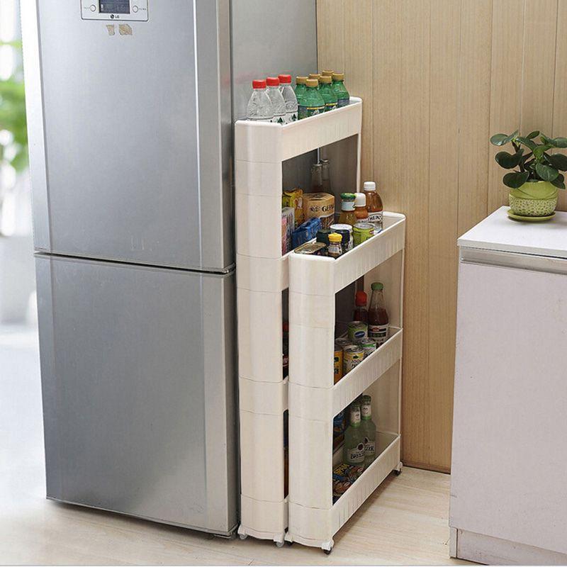 1 Pc blanc Gap étagère de rangement pour cuisine stockage patinage mobile en plastique salle de bain étagère économiser de l'espace 3/4 couches de haute qualité