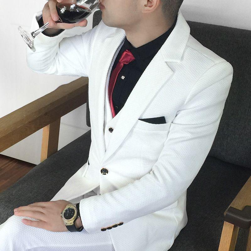 Большие размеры 5XL мужской костюм комплект торжественное платье Белый Жених Смокинги для женихов Для мужчин свадебные костюмы для выпускно...