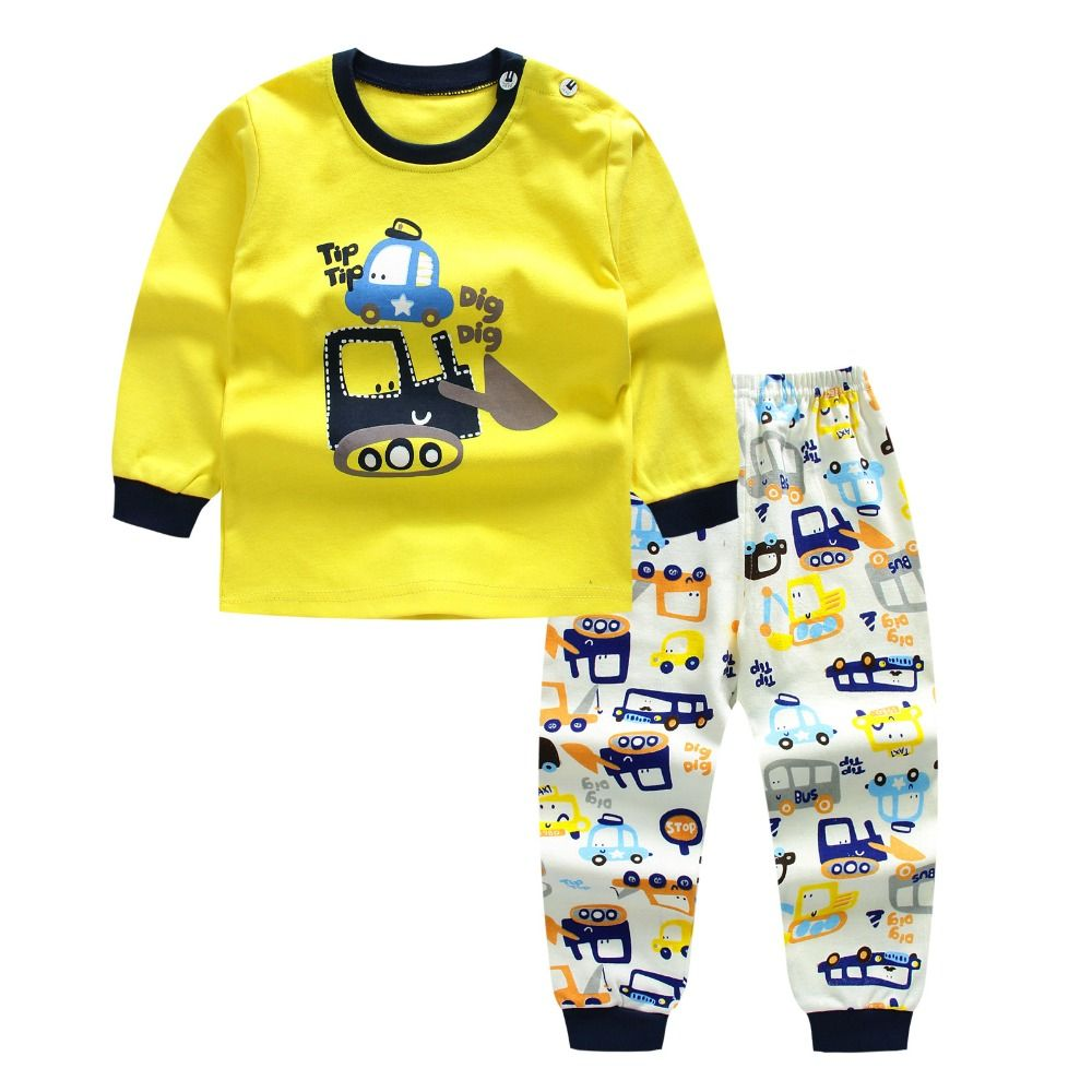 Morningtwo 2018 Cartoon Shirt+pants 2pcs Children's Clothing Set Outfit Toddler Baby Boys Long Sleeves Set 12m-5t For Autumn