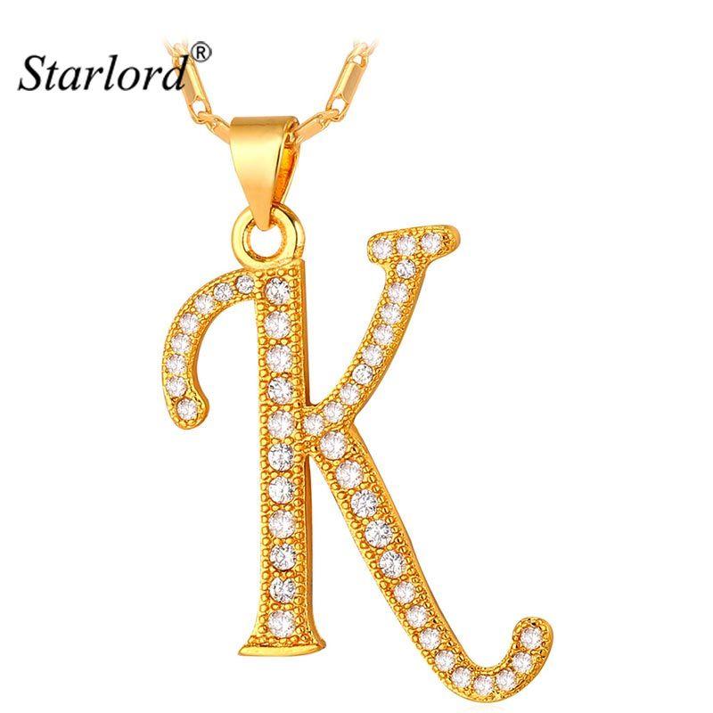 Starlord Initial K lettre pendentifs et colliers femmes/hommes cadeau personnalisé Alphabet bijoux or couleur collier P1681