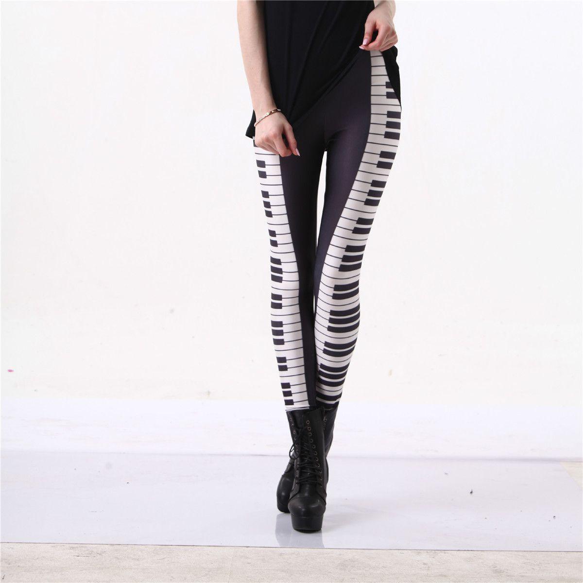 Leggings Piano noir blanc rayure Sexy jambe chaude 3D graphique imprimé touches de musique Fitness Leggings pantalons Gymwear Funky Capris S-4XL