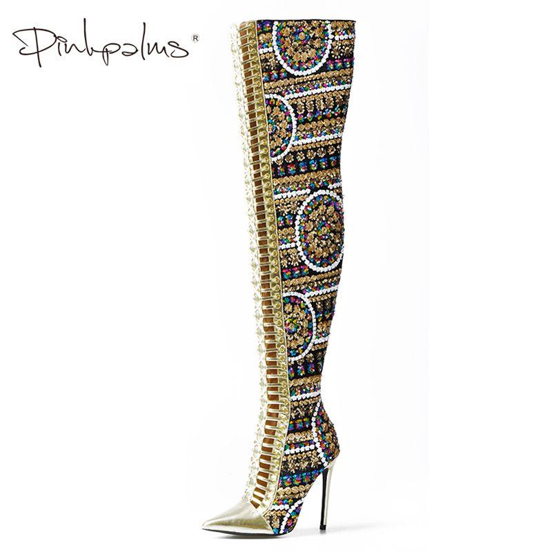 Rosa Palms Winter Schuhe Frauen Glänzende Pailletten Tuch Über das Knie Oberschenkel Hohe Stiefel Kreuz Gebunden Internationalen Zeigen Stiefel Frauen