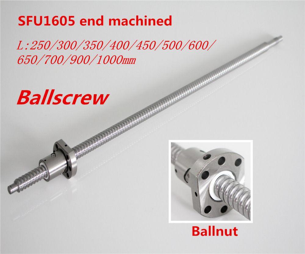 Kugelumlaufspindel SFU1605 250mm 300 350 400 450 500 600 650 700 900 1000 1200 1500mm w Ballnut Ball schraube 1605 Ende Bearbeitet CNC