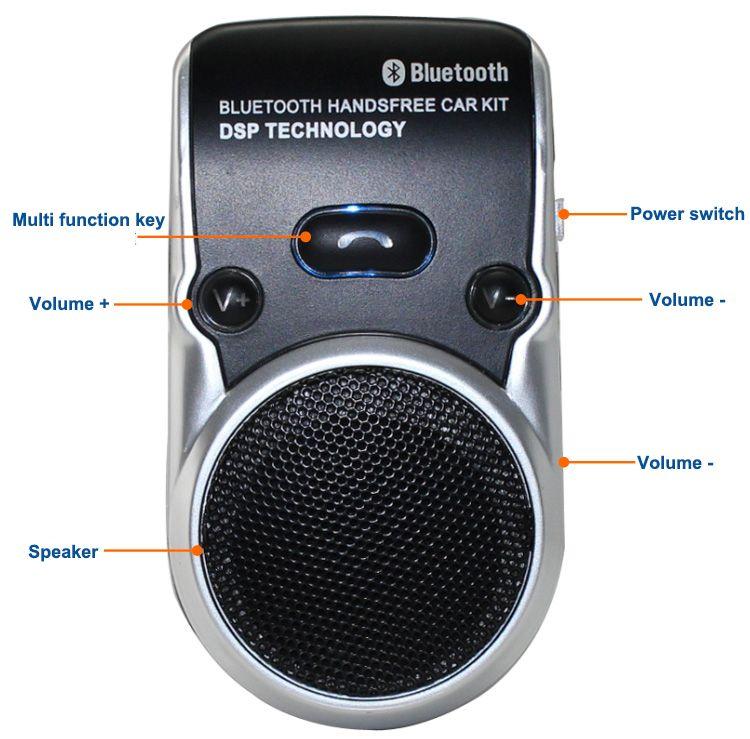 Siparnuo Aux Bluetooth Kit de voiture à énergie solaire manos libres mains libres haut-parleur avec USB Bluetooth haut-parleur mains libres téléphone