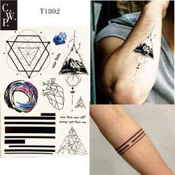 T1802 1 unidades línea geométrica tatuaje temporal con triángulo Montaña, línea, corazón, y redondez patrón pintura del cuerpo tatuajes