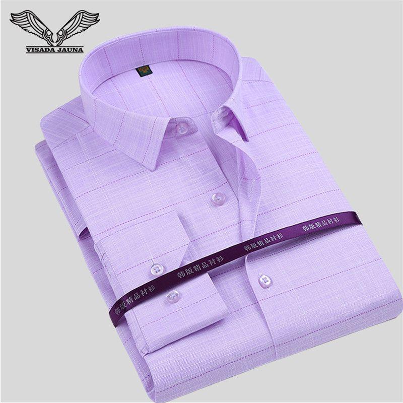 VISADA JAUNA Patchwork Printed Men Shirt New Arrival Long Sleeve Casual Male Brand Clothing Slim Camisa Social Masculina N774
