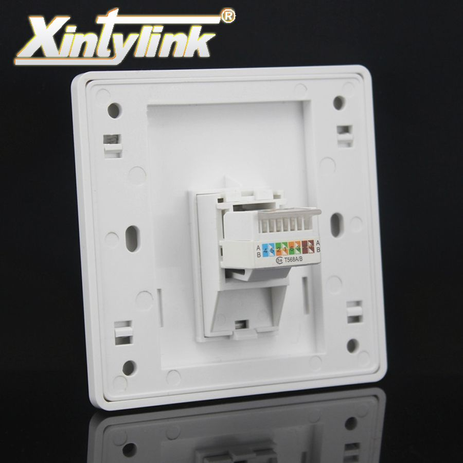 xintylink rj45 Socket panel jack modular 1 Port cat5e cat6 white Keystone pc Wall Face plate Faceplate toolless computer 86mm
