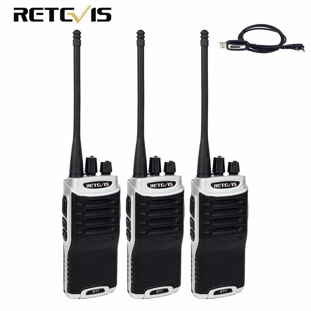 3 pcs Retevis RT7 Walkie Talkie 5 W UHF 400-470 MHz Radio Amador CTCSS/DCS FM Radio pratique 2 Voies Radio Amateur