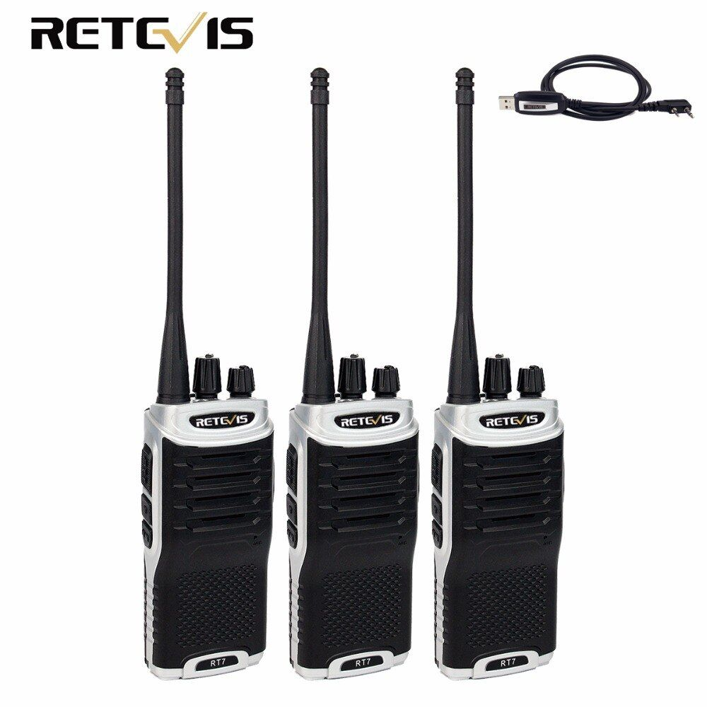 3pcs Retevis RT7 Talkie Walkie 5W UHF 400-470MHz CTCSS/DCS FM Radio(88-105MHz) Handy 2 Way Radio Amateur Radio Set Hunting Radio