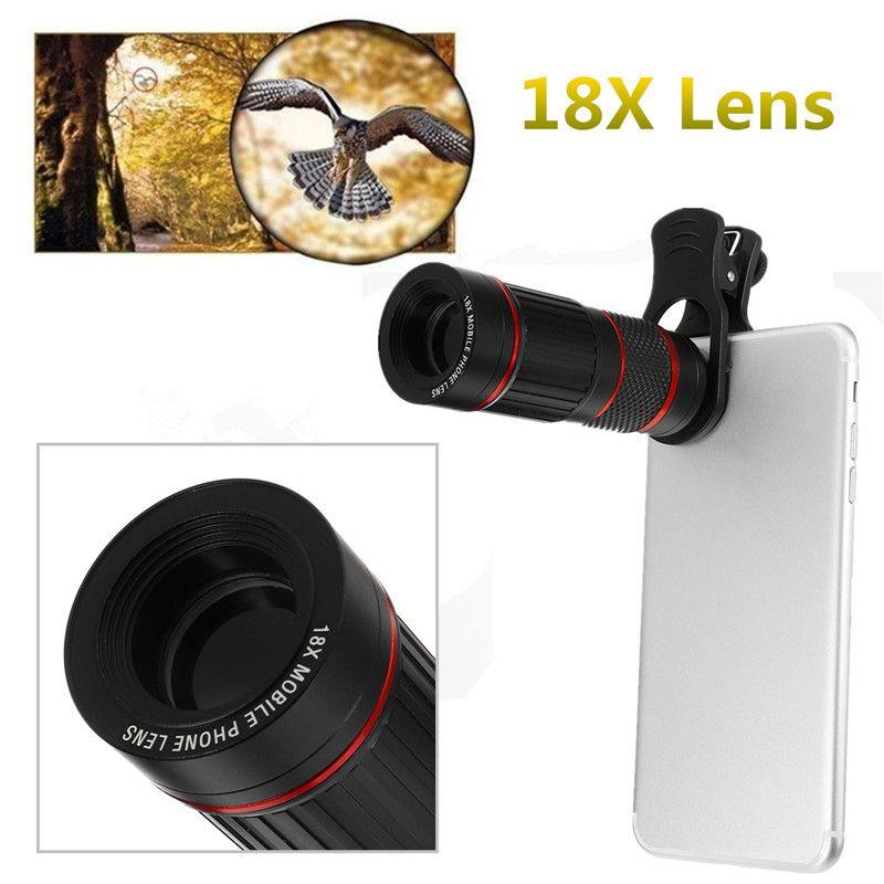 18X Chasse Optique Zoomables HD Objectif Lentille Téléobjectif Télescope Monoculaire Clip-Sur Pour Mobile Téléphones pour En Plein Air Observation Des Oiseaux