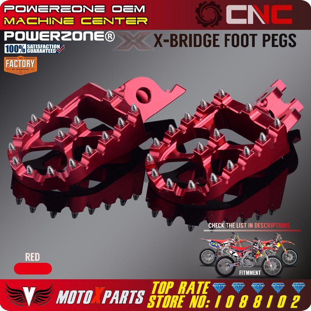 Billet MX Wide Foot Pegs Rests Pedals X Bridge CR125 /250 CRF450X CRF230F CRF250R L M CRF250X CRF450R Dirt Bike Motocross Enduro