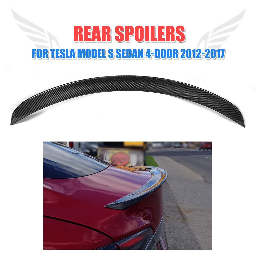 Carbon Fiber Rear Spoiler Trunk Boot Lip Trim For Tesla Model S Sedan 4-Door 2012-2017 Rear Wing Spoiler