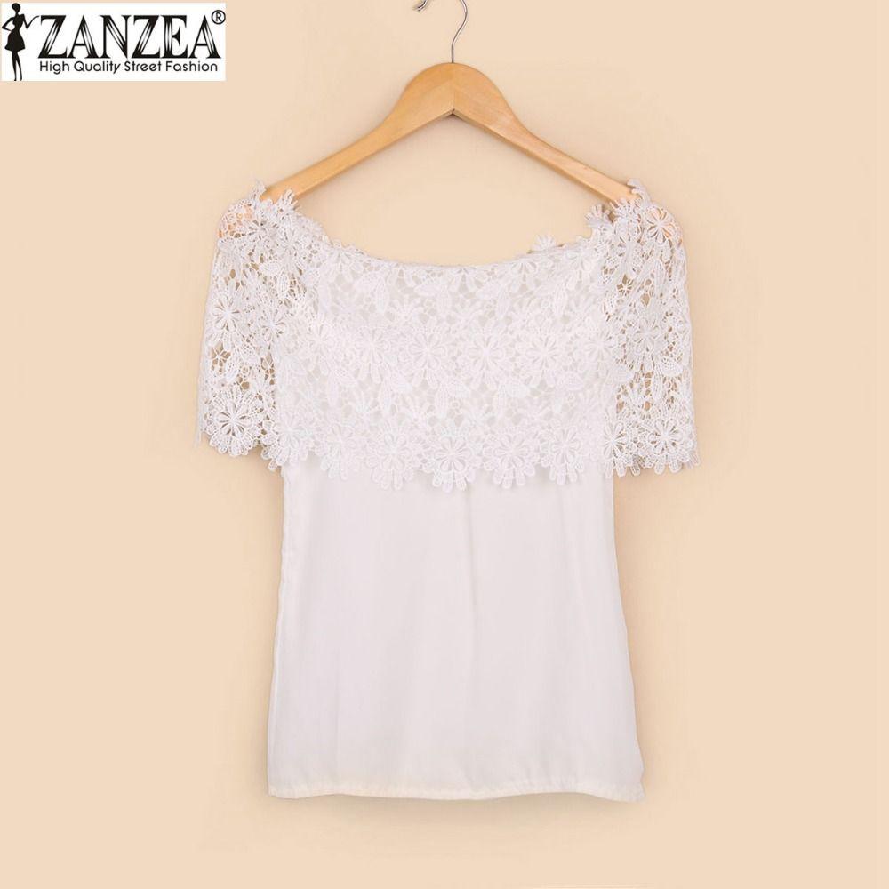 Zanzea 2018 D'été Femmes Sexy Slash Cou Tops Casual Épaule Off Mousseline de Soie En Dentelle Blouse Chemises Blanc Blusas Femininas Plus La Taille