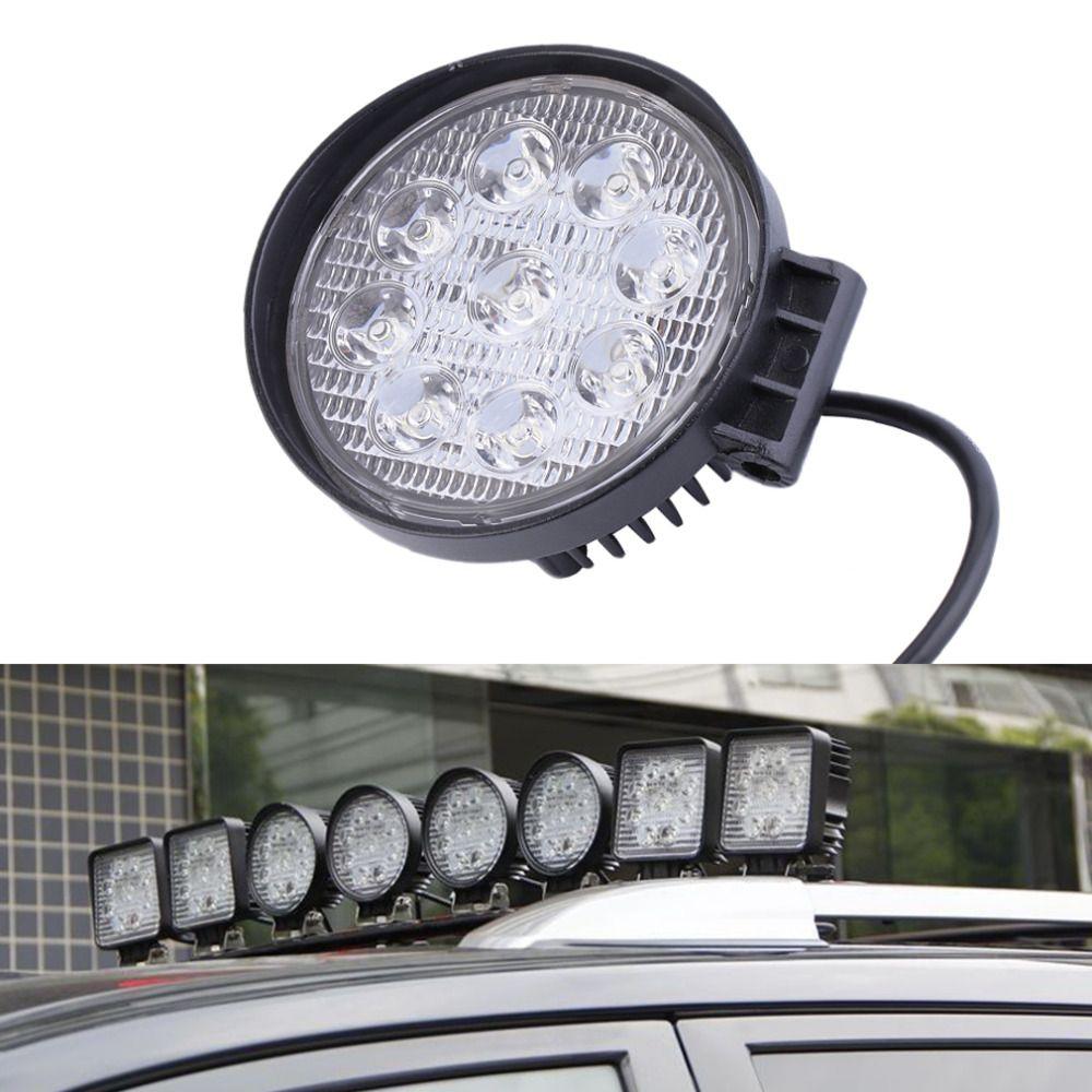 2016 27W 12V LED Work Light 60 Degree High Power LED Offroad Light Round Off road LED Work Light Flood Light for Boating Hunting