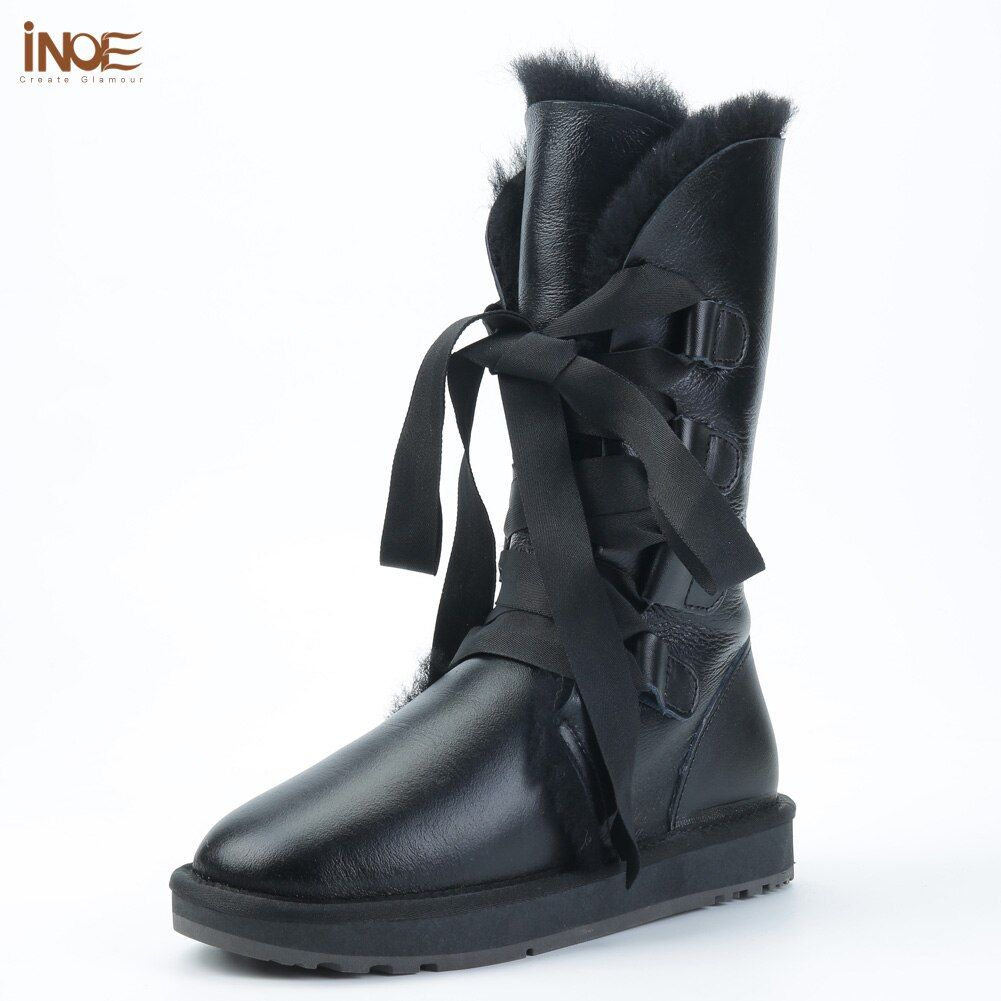 INOE fashion lace up snow boots for women bootlace real sheepskin leather natural sheep fur lined girls winter shoes waterproof