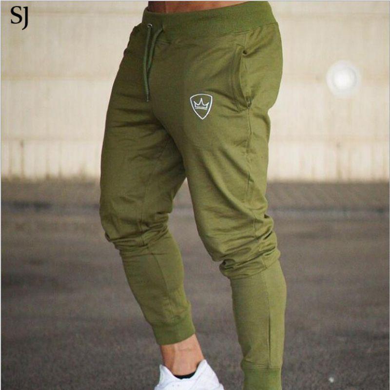 SJ Gyms Men Pants Cotton <font><b>2018</b></font> Track Pants Joggers Sweatpants Casual Sweat Pants