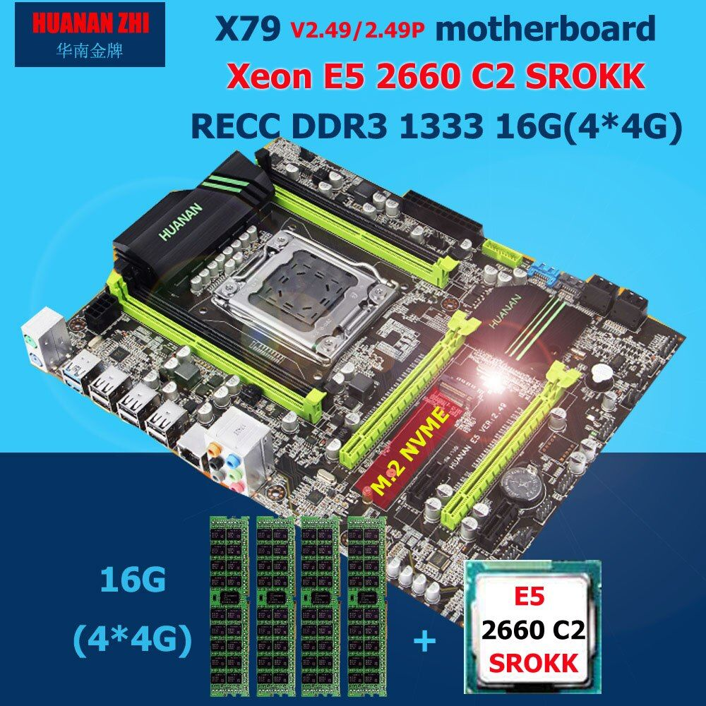 HUANAN ZHI X79 motherboard with M.2 slot discount new motherboard with CPU Intel Xeon E5 2660 C2 SROKK RAM 16G(4*4G) DDR3 RECC